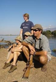 Transect team resting on banks of the Zambezi
